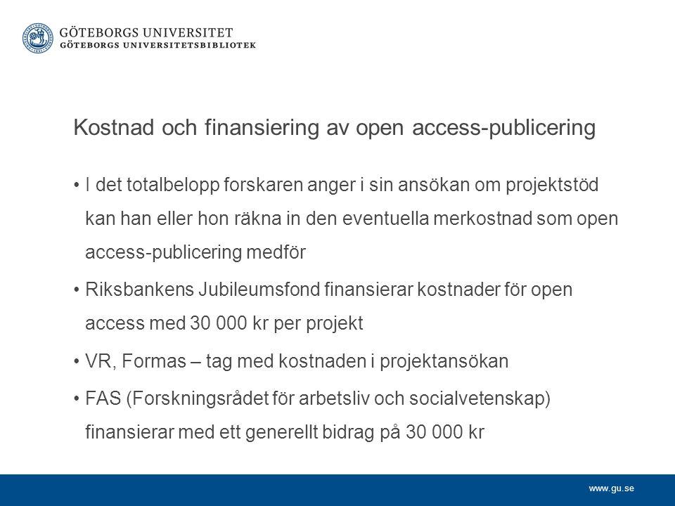 Kostnad och finansiering av open access-publicering