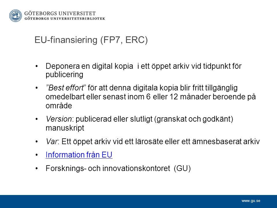 EU-finansiering (FP7, ERC)