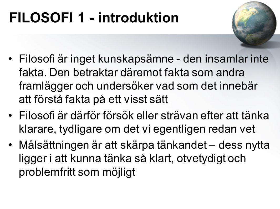 FILOSOFI 1 - introduktion