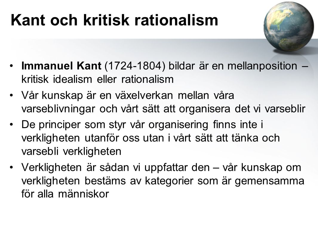 Kant och kritisk rationalism