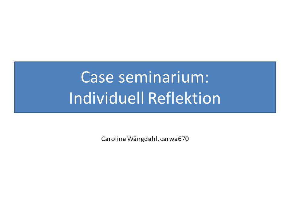 Case seminarium: Individuell Reflektion