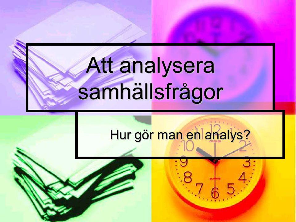 Att analysera samhällsfrågor