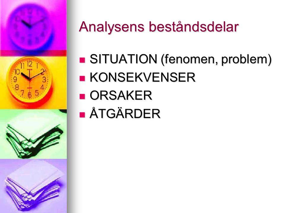 Analysens beståndsdelar