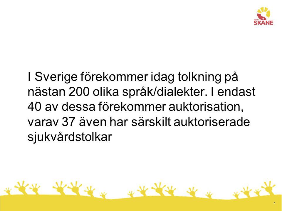 I Sverige förekommer idag tolkning på nästan 200 olika språk/dialekter