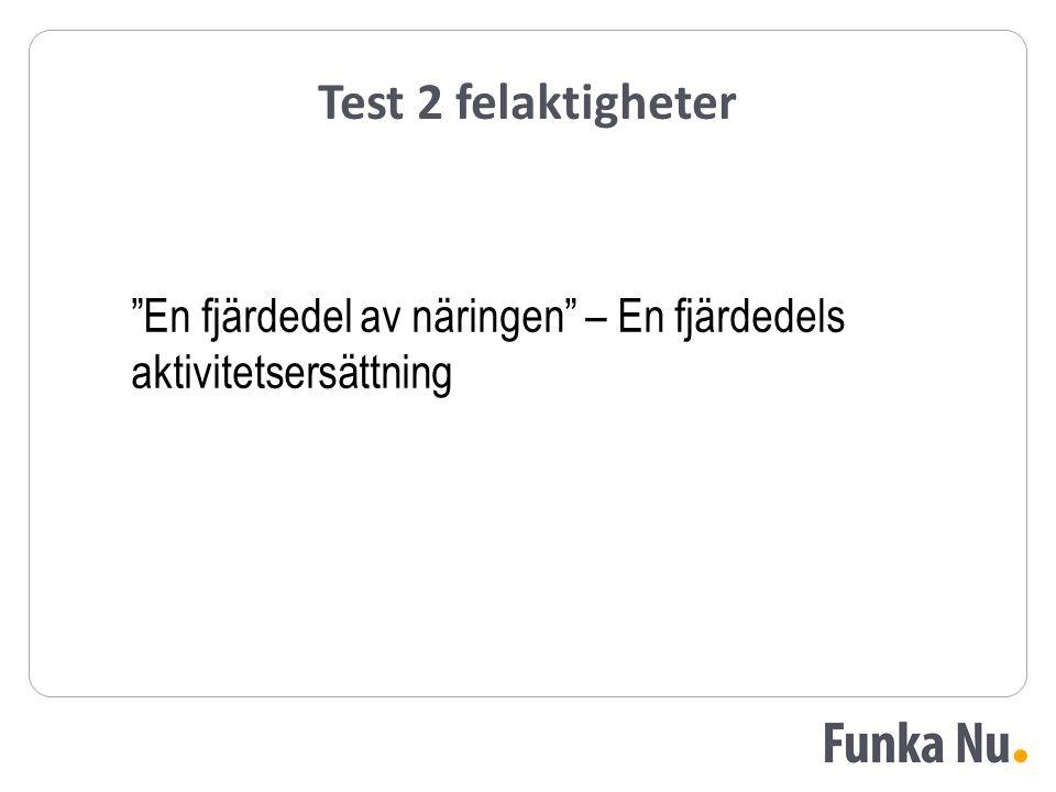 Test 2 felaktigheter En fjärdedel av näringen – En fjärdedels aktivitetsersättning
