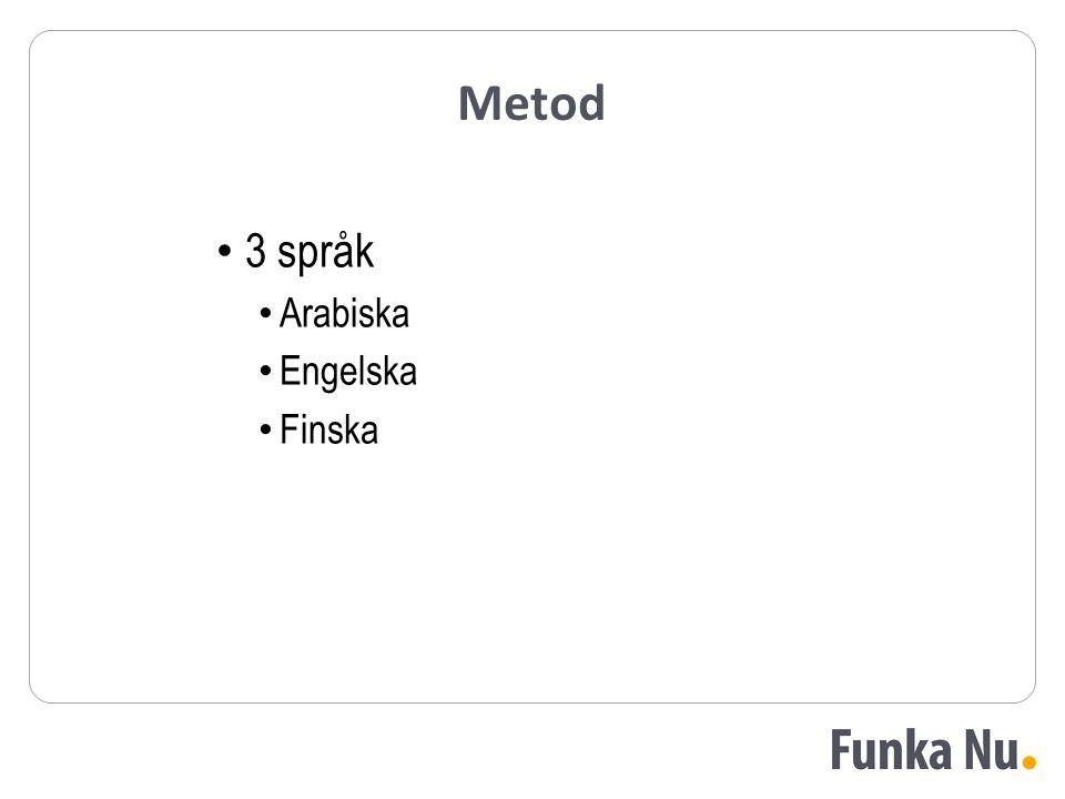 Metod 3 språk Arabiska Engelska Finska