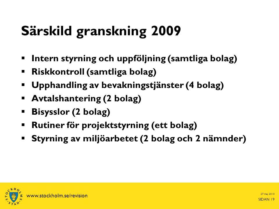 Särskild granskning 2009 Intern styrning och uppföljning (samtliga bolag) Riskkontroll (samtliga bolag)