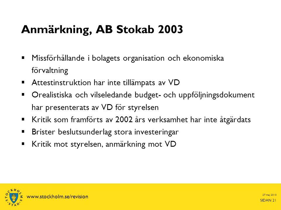 Anmärkning, AB Stokab 2003 Missförhållande i bolagets organisation och ekonomiska förvaltning. Attestinstruktion har inte tillämpats av VD.