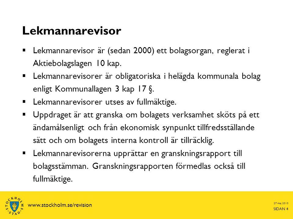 Lekmannarevisor Lekmannarevisor är (sedan 2000) ett bolagsorgan, reglerat i Aktiebolagslagen 10 kap.