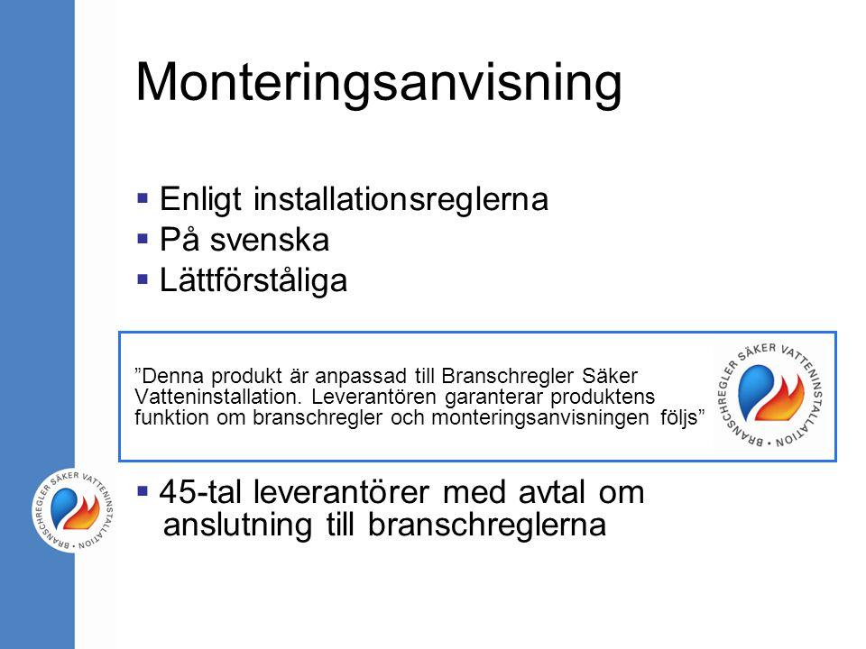 Monteringsanvisning Enligt installationsreglerna På svenska