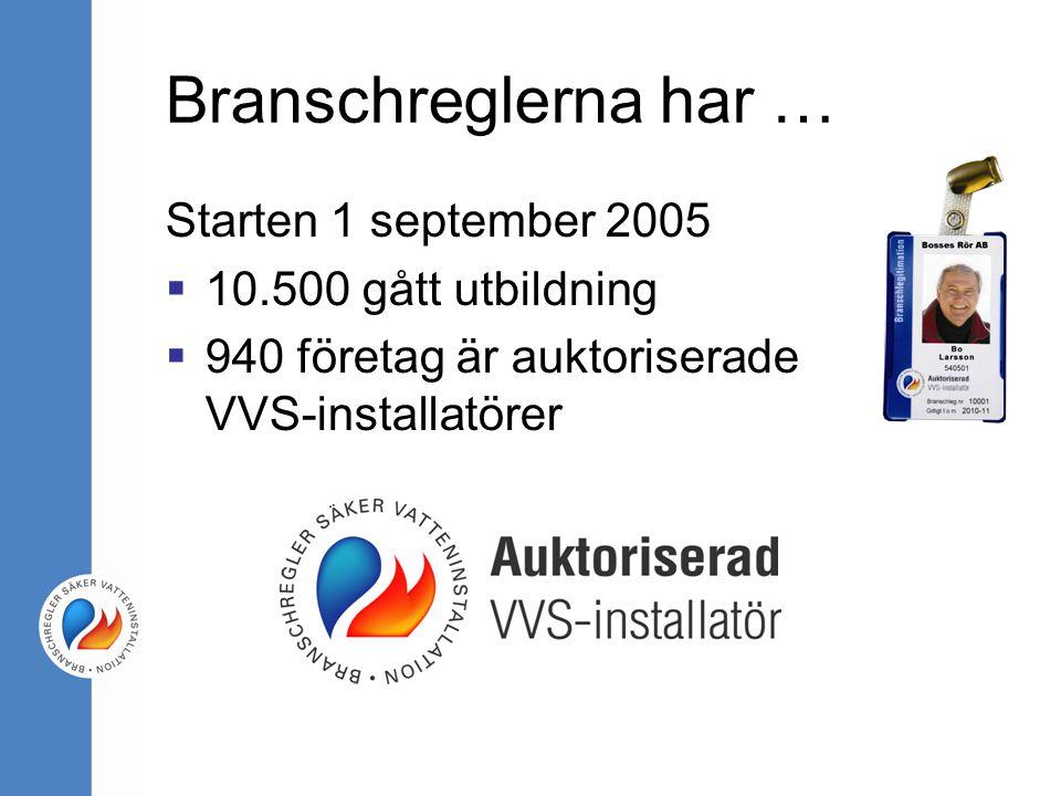 Branschreglerna har … Starten 1 september 2005 10.500 gått utbildning