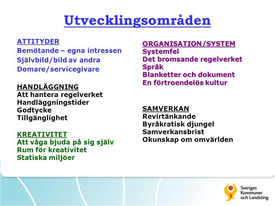 Utvecklingsområden ATTITYDER ORGANISATION/SYSTEM
