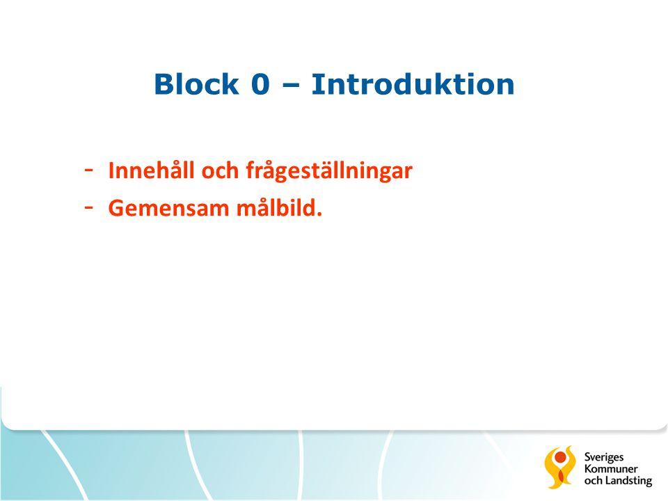Block 0 – Introduktion Innehåll och frågeställningar Gemensam målbild.