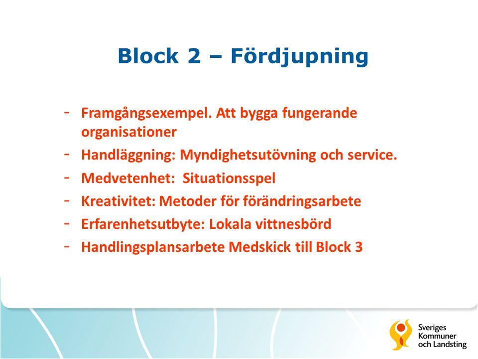 Block 2 – Fördjupning Framgångsexempel. Att bygga fungerande organisationer. Handläggning: Myndighetsutövning och service.