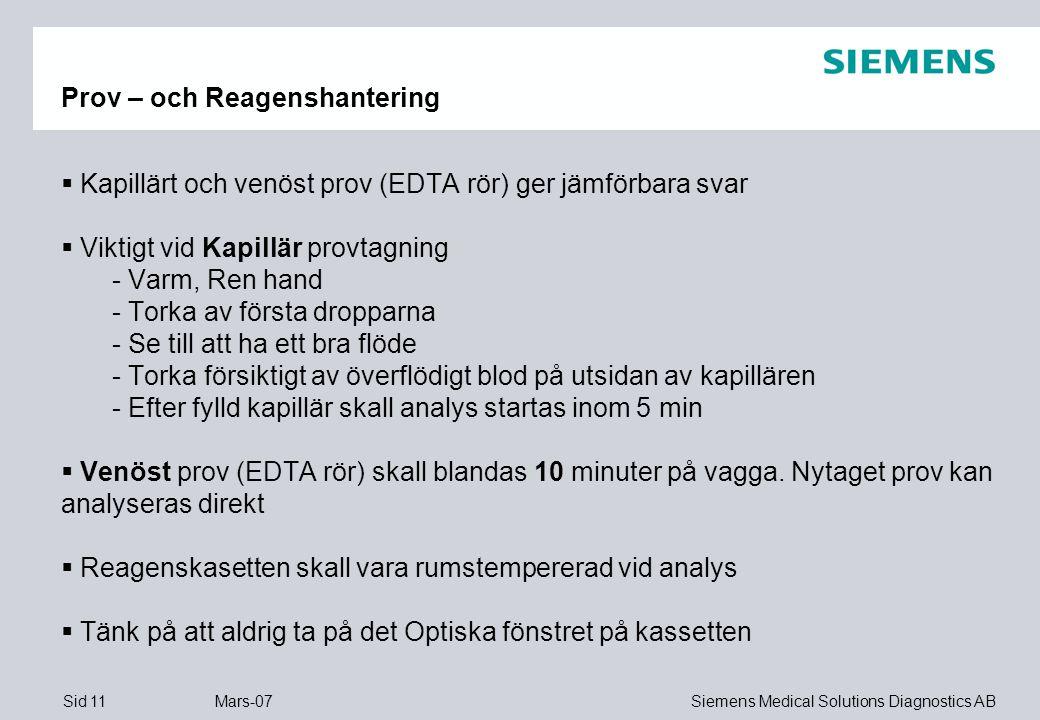 Prov – och Reagenshantering