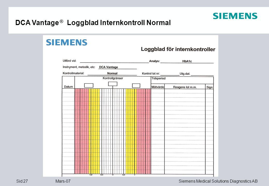 DCA Vantage ® Loggblad Internkontroll Normal