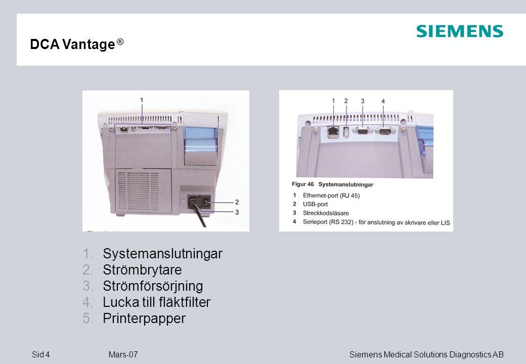DCA Vantage ® Systemanslutningar Strömbrytare Strömförsörjning Lucka till fläktfilter Printerpapper