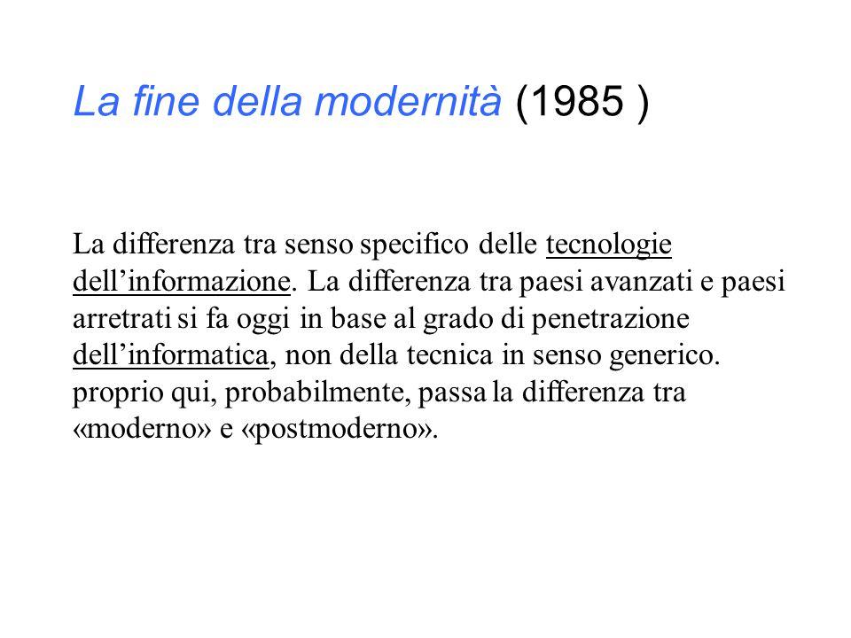 La fine della modernità (1985 )
