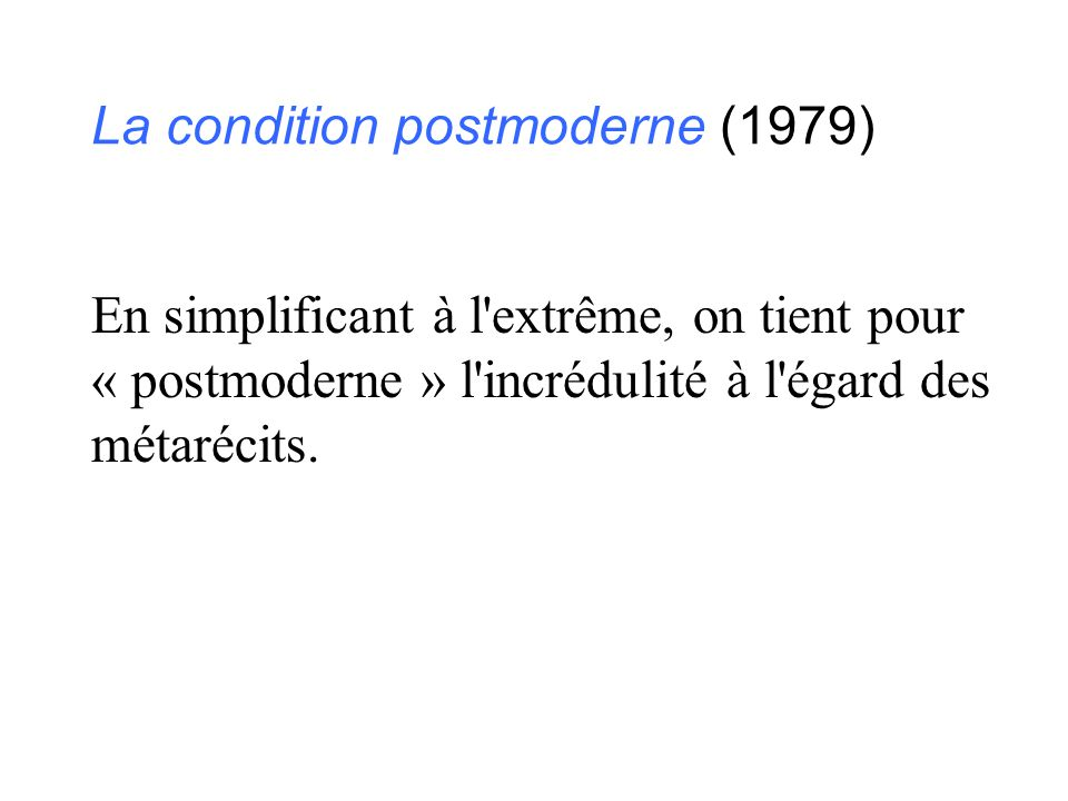 La condition postmoderne (1979)