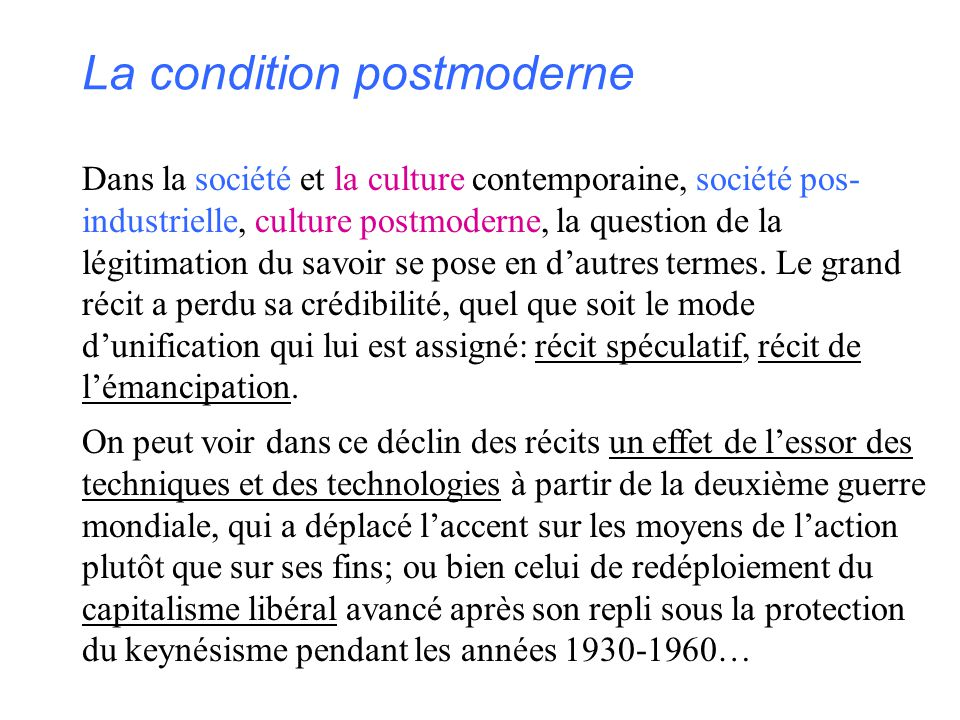 La condition postmoderne