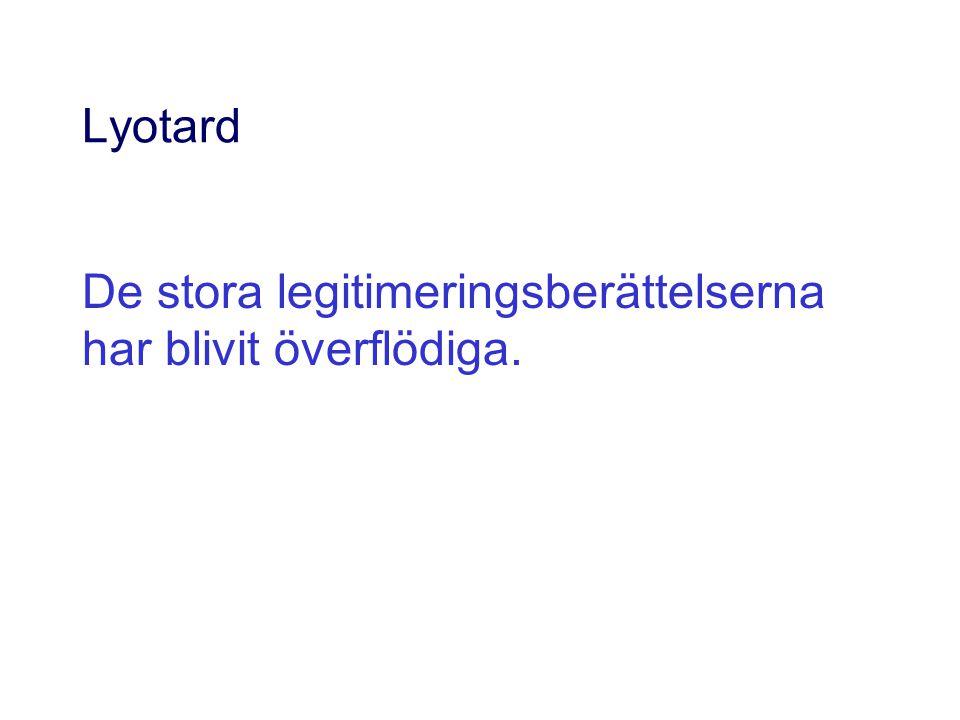 Lyotard De stora legitimeringsberättelserna har blivit överflödiga.