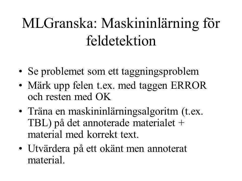 MLGranska: Maskininlärning för feldetektion