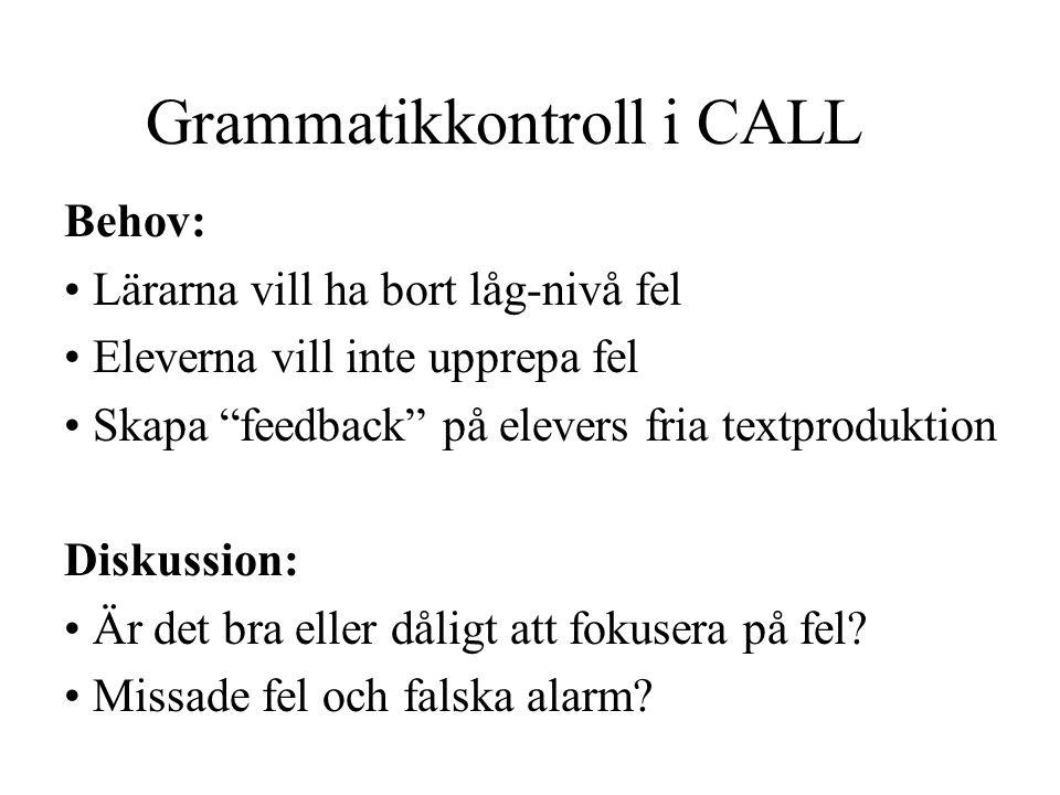 Grammatikkontroll i CALL