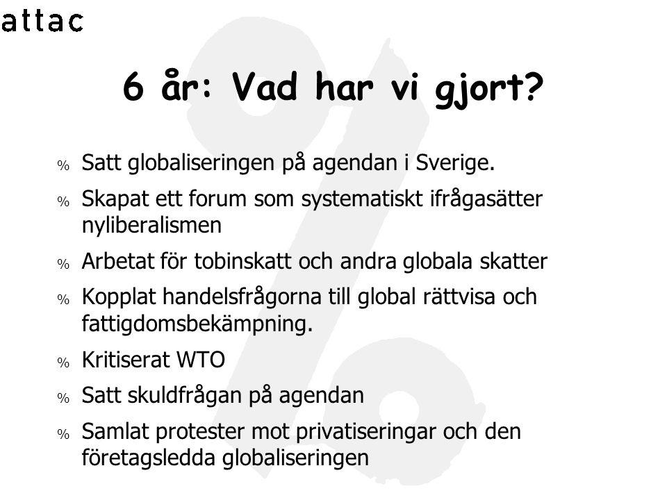 6 år: Vad har vi gjort Satt globaliseringen på agendan i Sverige.