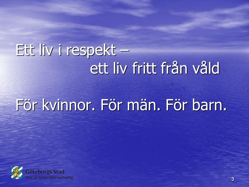 Ett liv i respekt –. ett liv fritt från våld För kvinnor. För män