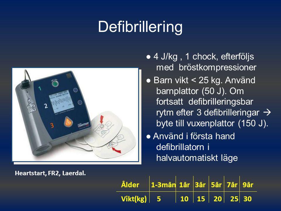 Defibrillering ● 4 J/kg , 1 chock, efterföljs med bröstkompressioner