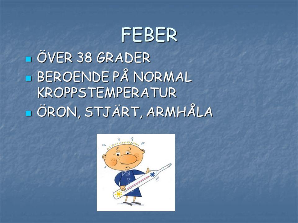 FEBER ÖVER 38 GRADER BEROENDE PÅ NORMAL KROPPSTEMPERATUR