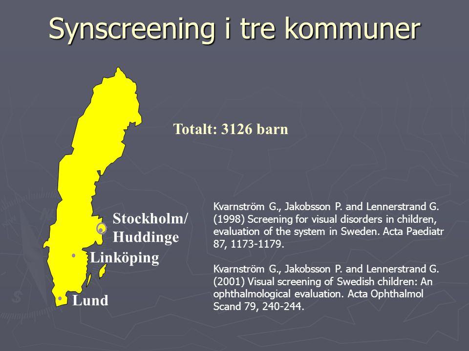 Synscreening i tre kommuner