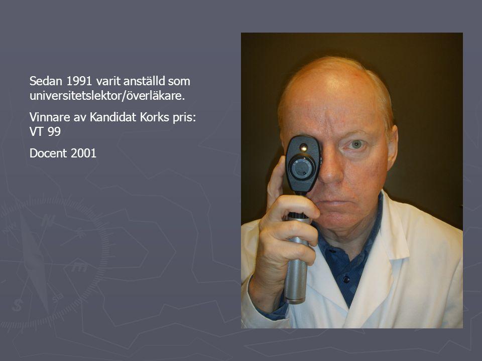 Sedan 1991 varit anställd som universitetslektor/överläkare.