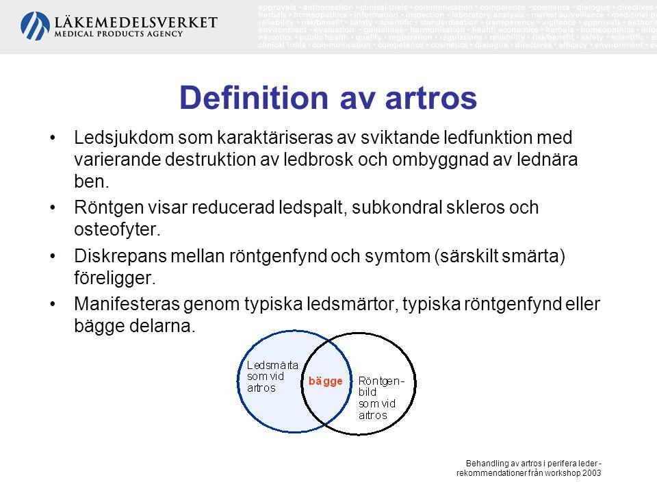 Definition av artros Ledsjukdom som karaktäriseras av sviktande ledfunktion med varierande destruktion av ledbrosk och ombyggnad av lednära ben.