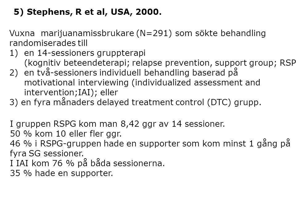 5) Stephens, R et al, USA, 2000. Vuxna marijuanamissbrukare (N=291) som sökte behandling. randomiserades till.