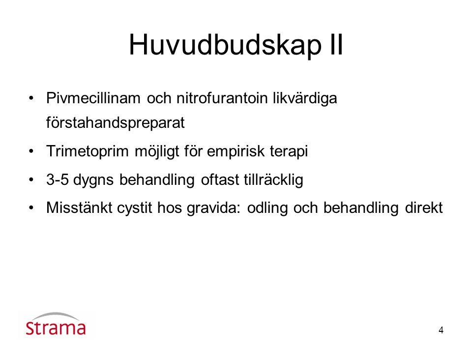 Huvudbudskap II Pivmecillinam och nitrofurantoin likvärdiga förstahandspreparat. Trimetoprim möjligt för empirisk terapi.