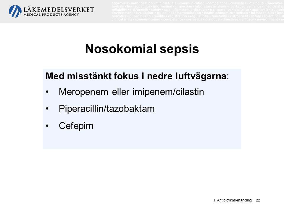 Nosokomial sepsis Med misstänkt fokus i nedre luftvägarna: