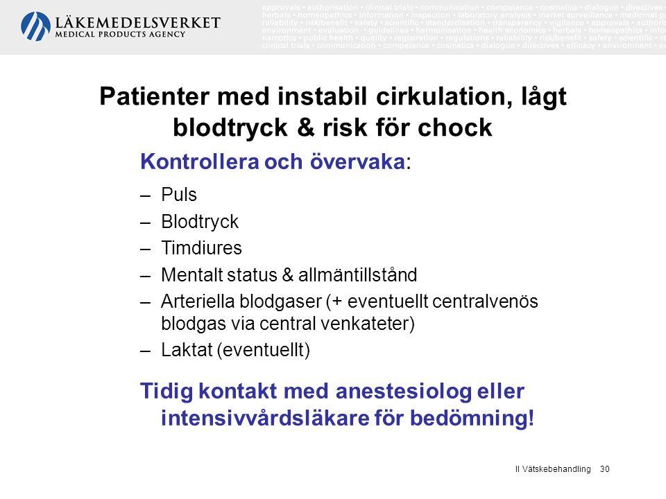Patienter med instabil cirkulation, lågt blodtryck & risk för chock