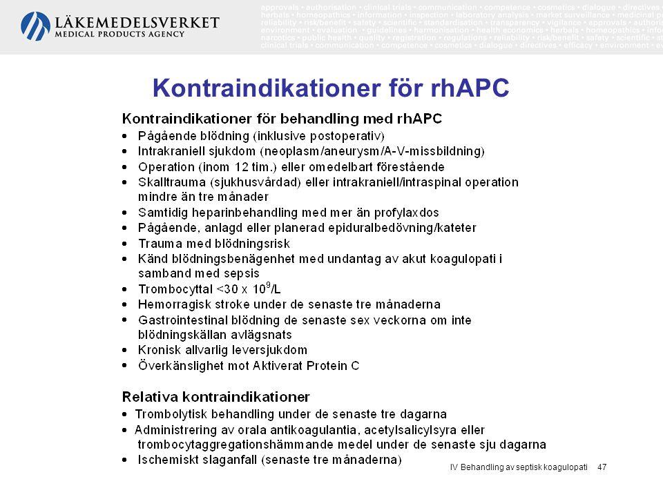 Kontraindikationer för rhAPC