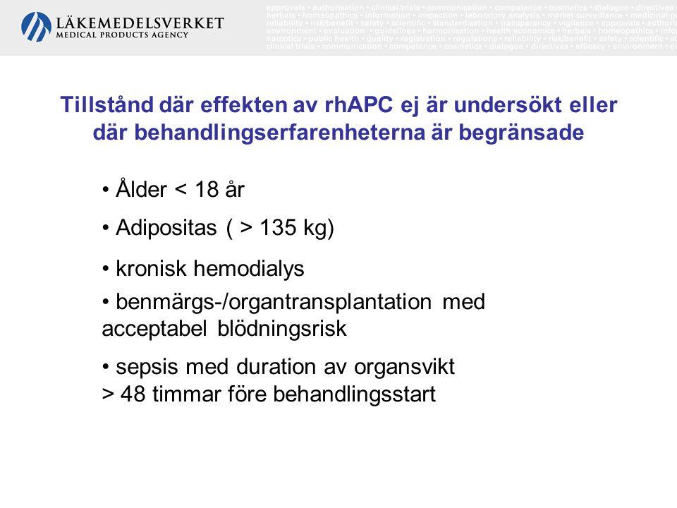 Tillstånd där effekten av rhAPC ej är undersökt eller där behandlingserfarenheterna är begränsade