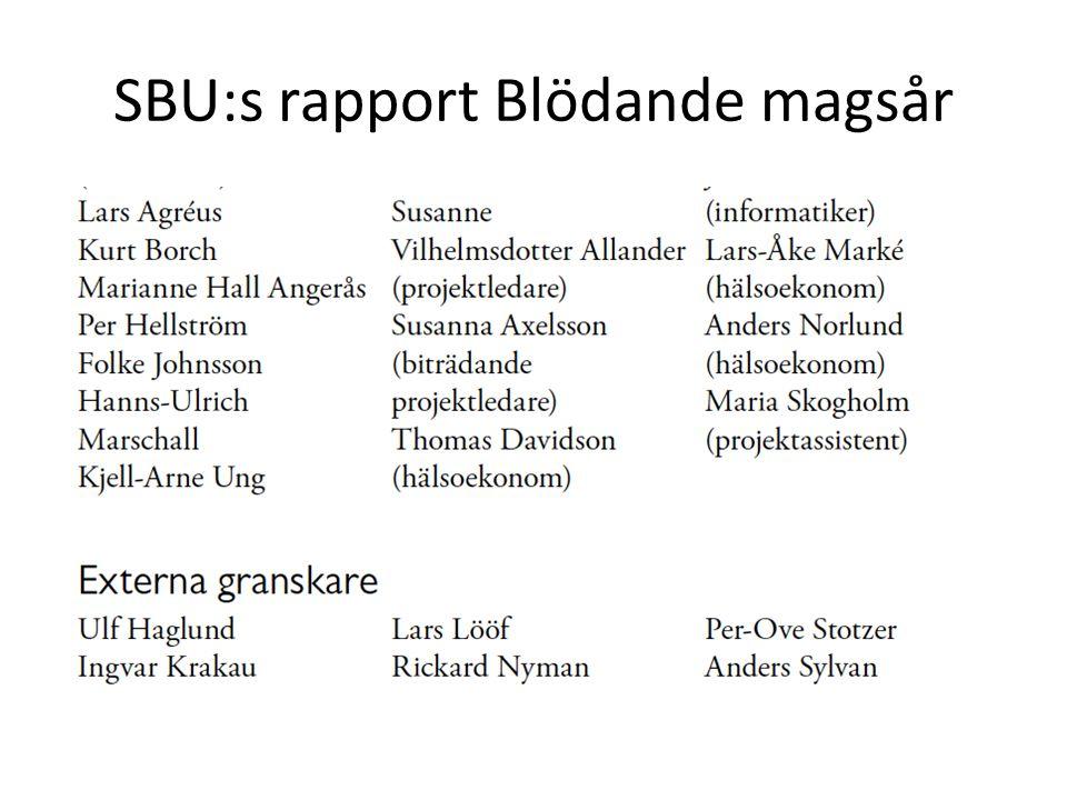 SBU:s rapport Blödande magsår
