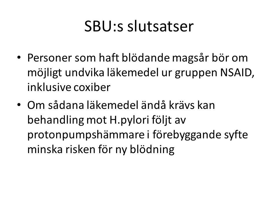 SBU:s slutsatser Personer som haft blödande magsår bör om möjligt undvika läkemedel ur gruppen NSAID, inklusive coxiber.