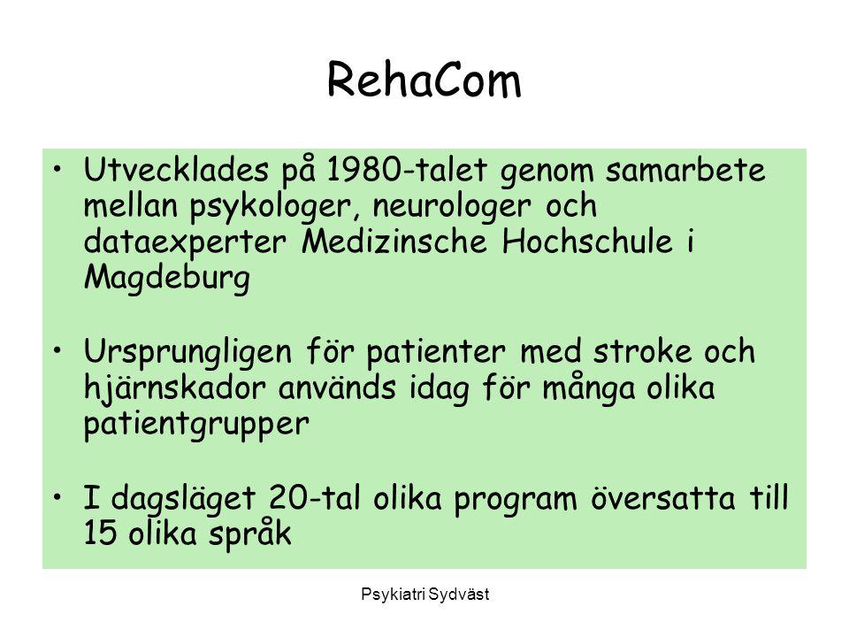 RehaCom Utvecklades på 1980-talet genom samarbete mellan psykologer, neurologer och dataexperter Medizinsche Hochschule i Magdeburg.