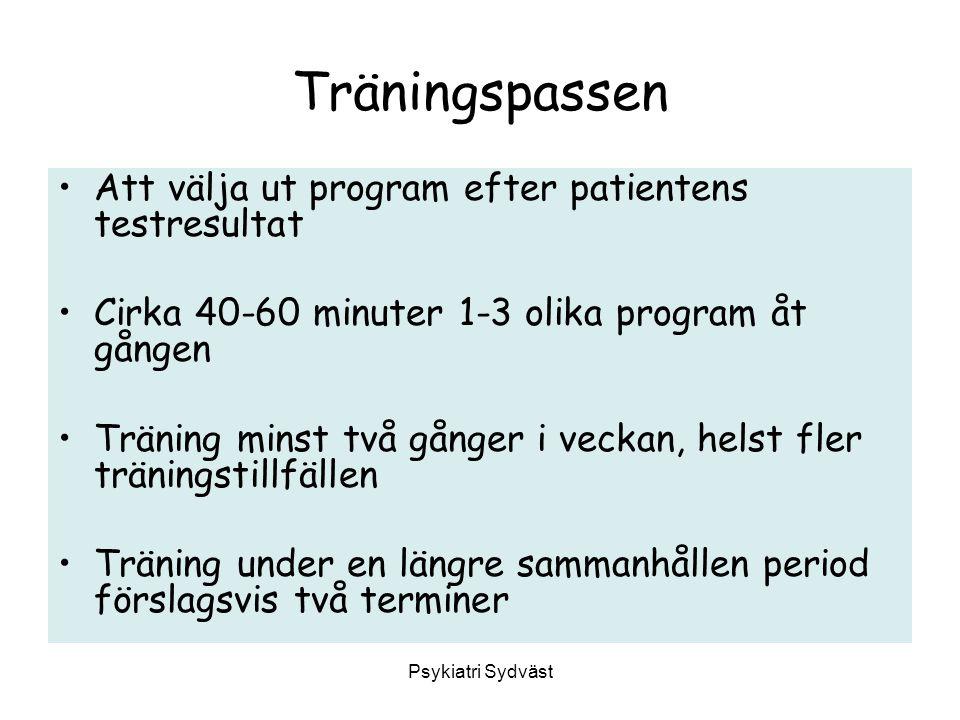 Träningspassen Att välja ut program efter patientens testresultat