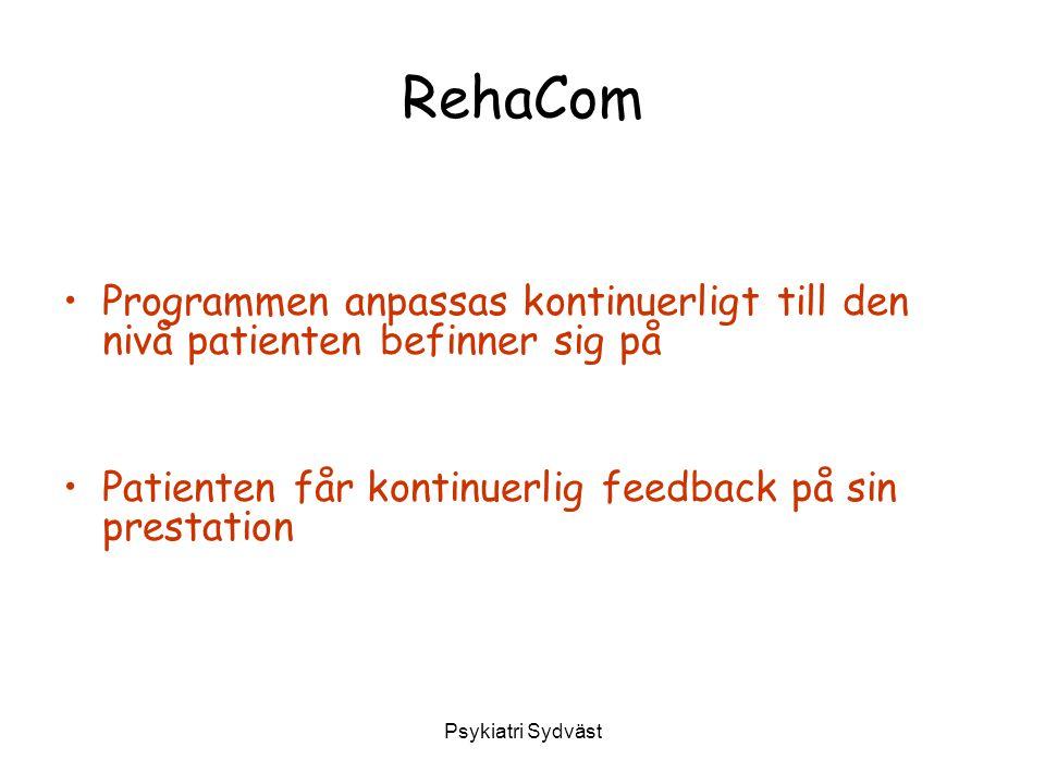 RehaCom Programmen anpassas kontinuerligt till den nivå patienten befinner sig på. Patienten får kontinuerlig feedback på sin prestation.