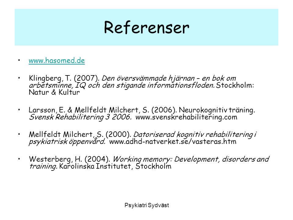 Referenser www.hasomed.de