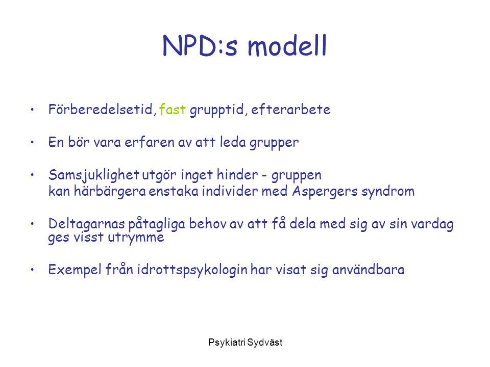 NPD:s modell Förberedelsetid, fast grupptid, efterarbete