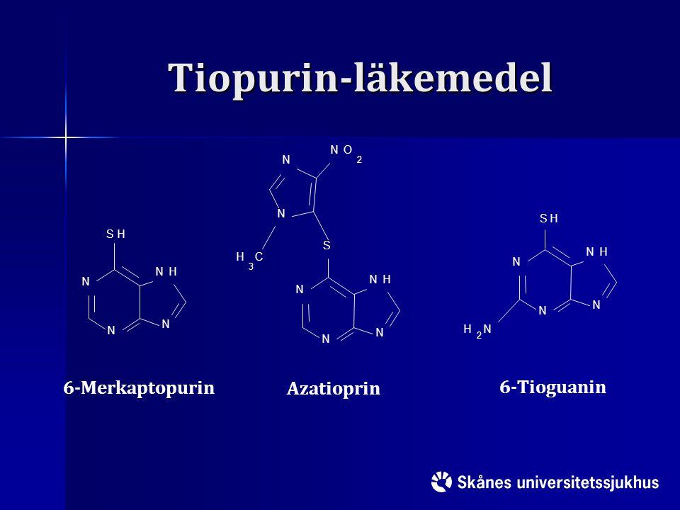 Tiopurin-läkemedel 6-Merkaptopurin Azatioprin 6-Tioguanin N O H C S 2