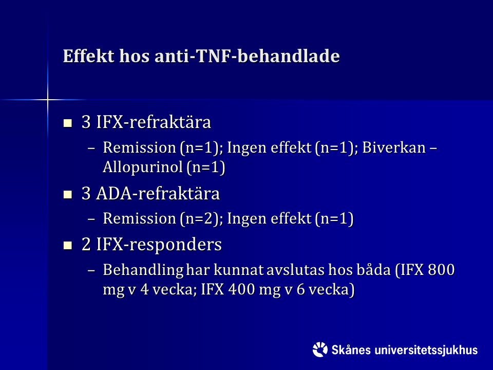 Effekt hos anti-TNF-behandlade