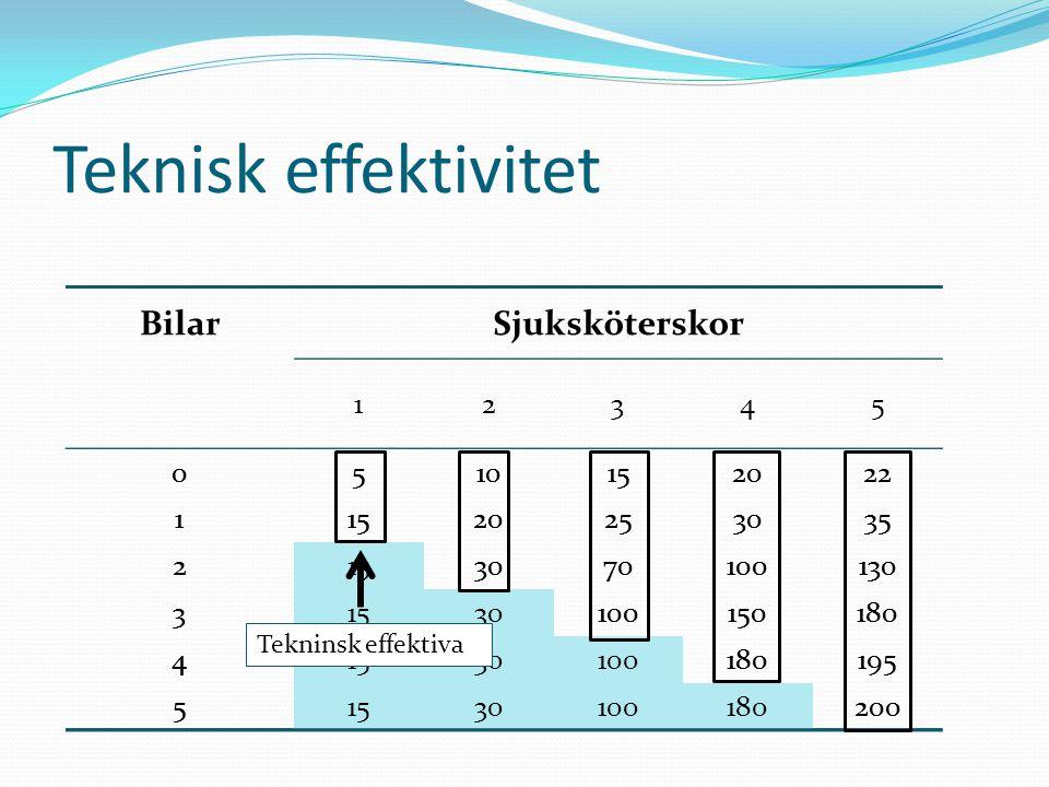 Teknisk effektivitet Bilar Sjuksköterskor 5 10 15 20 22 1 25 30 35 2